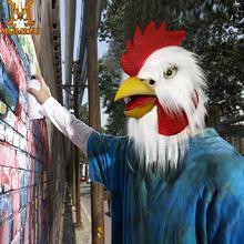 Molezu מסכת תרנגול עוף מסכת ליל כל הקדושים חידוש תלבושות מסיבת לטקס בעלי החיים ראש מסכת תרנגול אבזרי קוספליי לבן