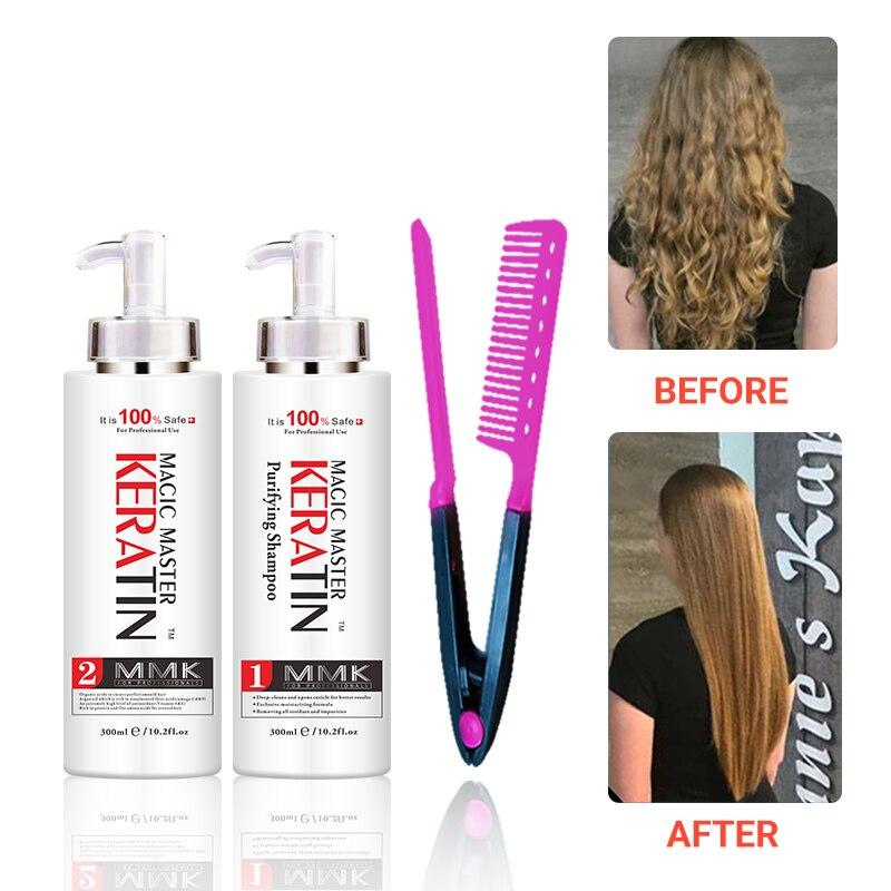 300ml mmk magia mestre queratina sem formalina + purificante shampoo endireitar o cabelo conjunto obter livre pente