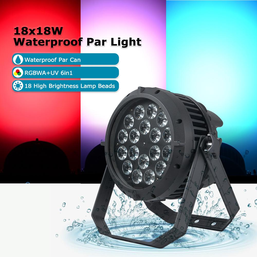 <font><b>LED</b></font> 18*18W Waterproof <font><b>Par</b></font> Light <font><b>RGBWA</b></font>+UV 6in1 Dj Light DMX Control Effect for Party KTV Stage Show Outdoor Disco Party Lights image