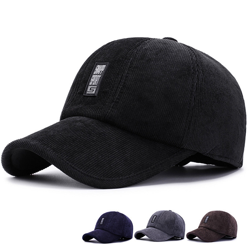 2019 New Winter Baseball Cap Cotton Men's Outdoor Hat Corduroy Earmuffs Warm Baseball Caps Windproof Dad Hats