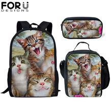 FORUDESIGNS 3Pcs School Bag Set for Kids Kawaii Cat Backpack Girls Boys Bagpack Children Cute Bookbag Satchel Daypack