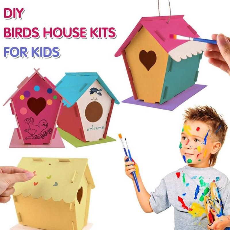 DIY строительный и крашеный птичий домик, деревянное искусство для девочек, мальчиков, малышей, креативные Детские мероприятия, деревянные и...