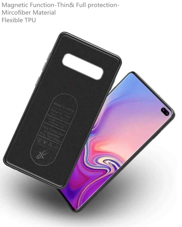 Funda magnética de soporte para coche para Samsung S10E S10 Plus, funda magnética de silicona TPU para Samsung S9 plus S10E y placa de Metal