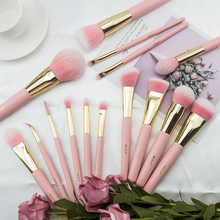 BEILI Pink Synthetic Make up brushes set Powder Blusher Smoky shade Blending Eye shade  Matte pink cute makeup brush kit