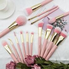 BEILI kit de pinceaux de maquillage synthétiques roses, brosses de blush, ombre fumée, ombre pour les yeux, rose mat, mignon