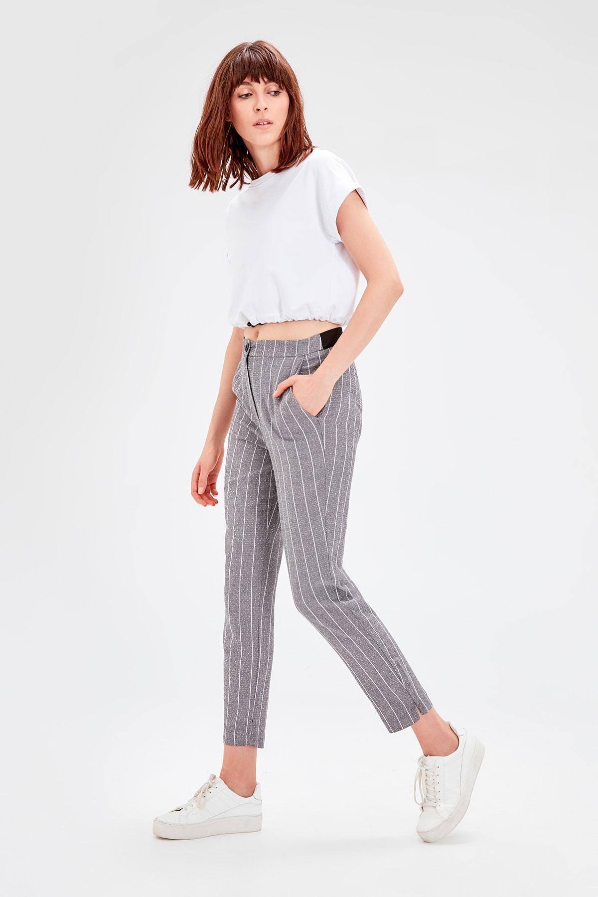 Trendyol Gray Striped Pants TWOAW20PL0296