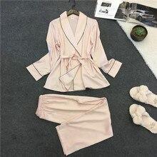Pajama Set Silk Home Suit Printed Cat Pyjamas Women Long Sle
