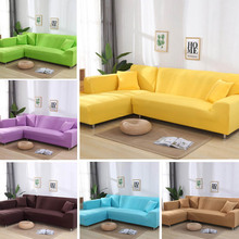 4 sizes elastic solid color sofa cover for u shape sofa cover l shaped stretch seater chair sofa cover pillow case WOSTAR Sofa Cover Solid Color print Elasticity Non-slip Sofa Cover 1/2/3/4 seater L shape Armchair Cover for home decor 2020 New