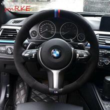 yuji hong top layer genuine cow leather car steering wheel covers case for bmw 320i m135i 2013 320d 335i 328i f20 f30 Black Suede Steering Wheel Cover for BMW F33 428i 2015 F30 320d 328i 330i M3 M4