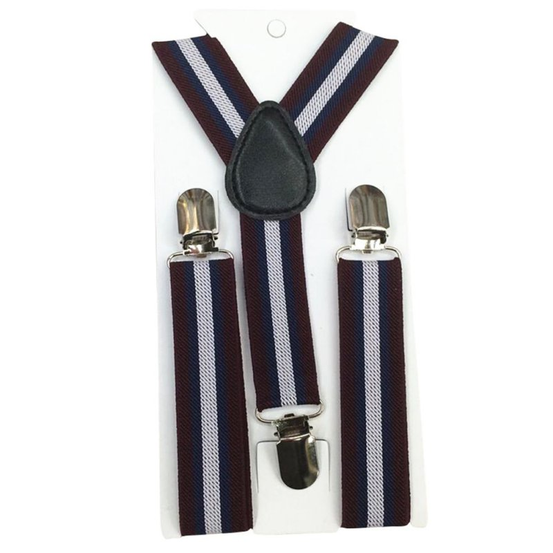 High Quality Soild Color Striped Children Belt Set Baby Boys Girls Suspenders Clip-on Y-Back Braces Bow Tie Elastic Adjustable