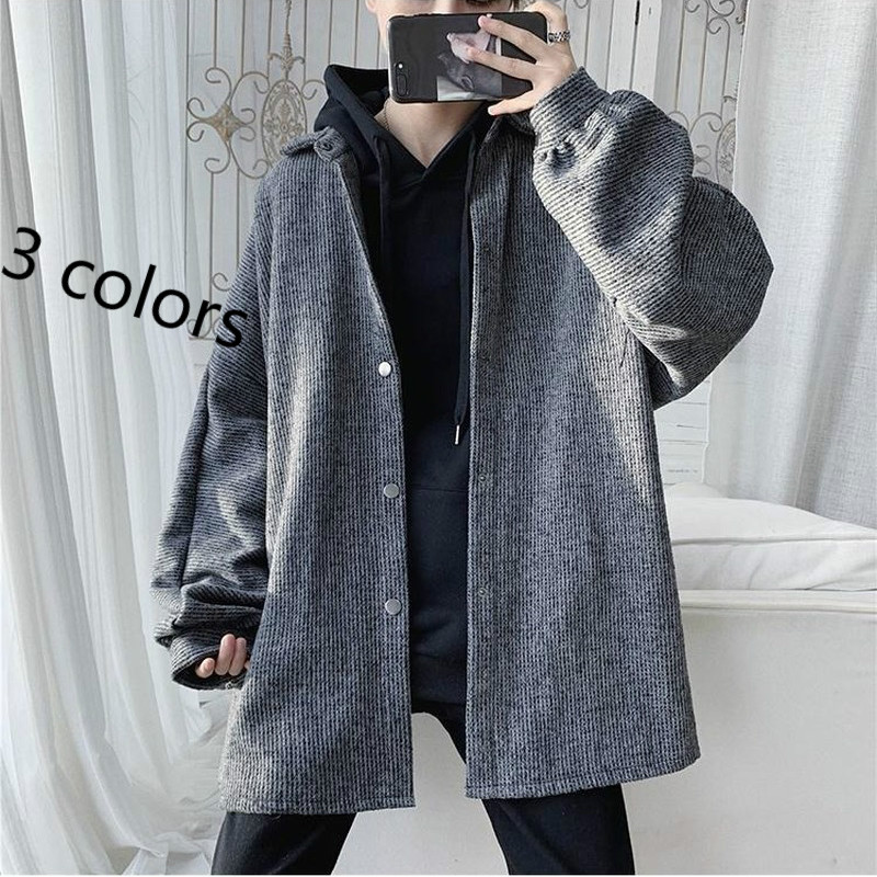 Coats And Jackets Men Vintage Solid Japanese Style High Quality Soft Loose 3XL Plus Size All-match Daily Leisure Chic Mens Top