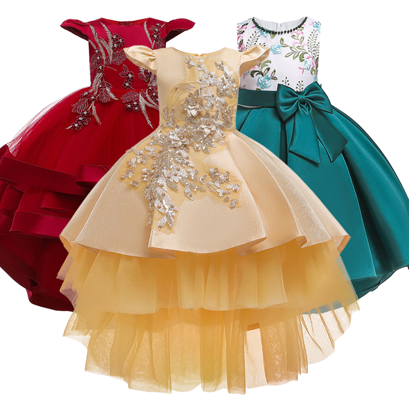 Girl Embroidery Silk Princess Dress For Wedding Party Kids Dresses For Toddler Kids Satin First Communion Glitz Pageant Dresses