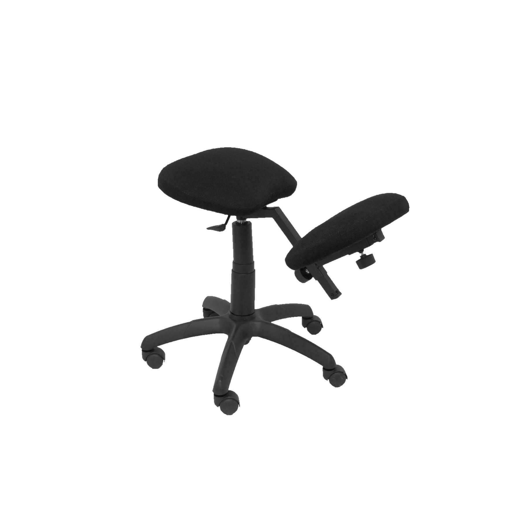 Office's Stool Ergonomic Swivel And Dimmable In High Altitude Up Seat Upholstered In BALI Tissue Color Black (KNEE