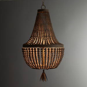 Image 3 - wooden/beaded chandelier retro/vintage/industrial/french chandelier light fittings for living/dining room shopping mall kitchen