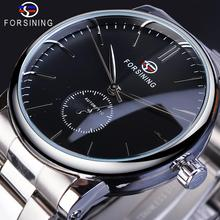 Forsining Mens Watch Mechanical Business Wristwatch Fashion Silver Stainless Steel Top Brand Luxury Classic Automatic Man Clock forsining watch men fashion casual watches top brand luxury watch automatic mechanical clock classic business wristwatch