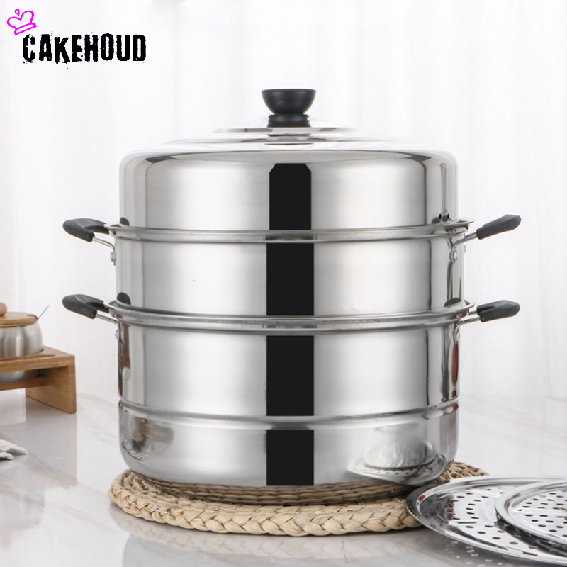 CAKEHOUD Multifunctional Large-capacity Cooking Pot For Household Stainless Steel Two-layer And Three-layer Thick Steam Soup Pot