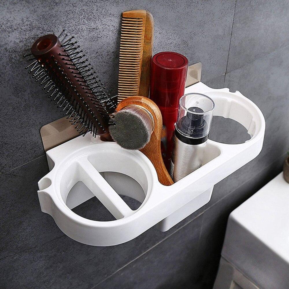 Hair Dryer Rack Comb Holder Bathroom Storage Organizer Self-adhesive Wall Mounted Stand For Shampoo Straightener