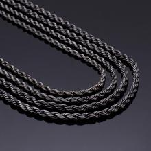 KALEN 4/5mm Stainless Steel Long Rope Chains Vintage Black Jewelry