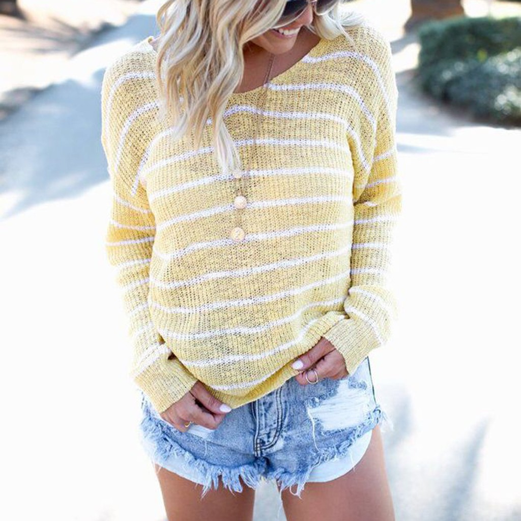 Women O-Neck Strip Knitted Sweater Loose Long Sleeve Top Blouse Pullover Women Sweater 2020 Winter Tops Sueter Mujer C30823