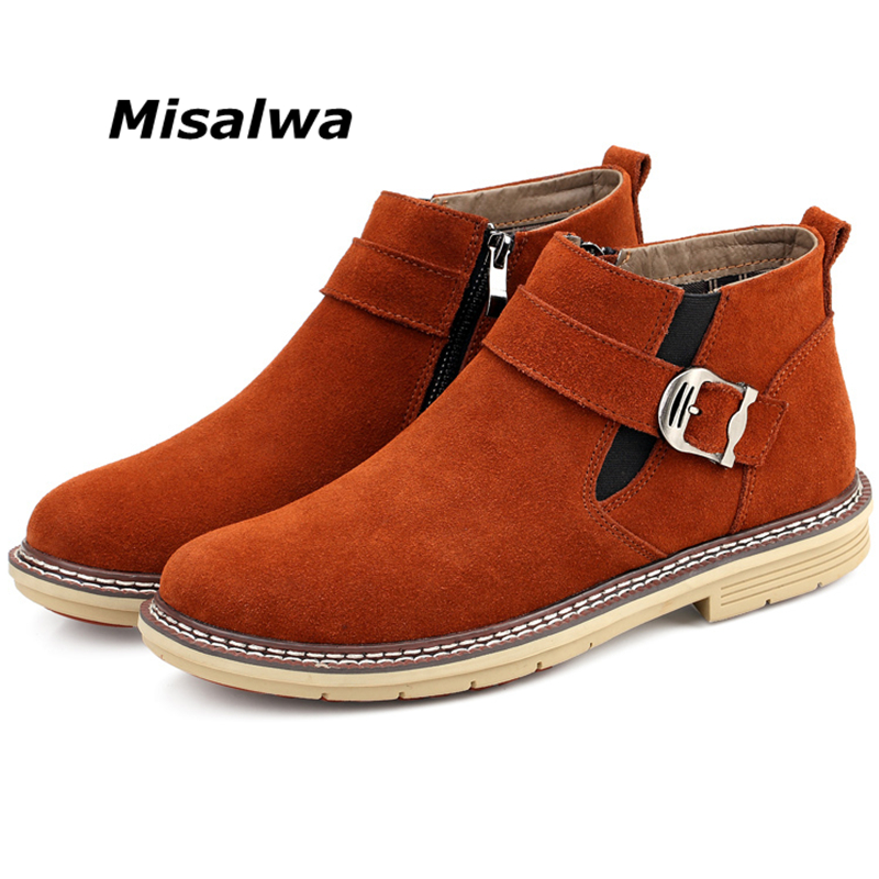 Misalwa 2020 Winter / Spring Desert Chelsea Boots Men Suede Leather Elastic Short Work Boots Zip Buckle Casual Shoes Size 38-47