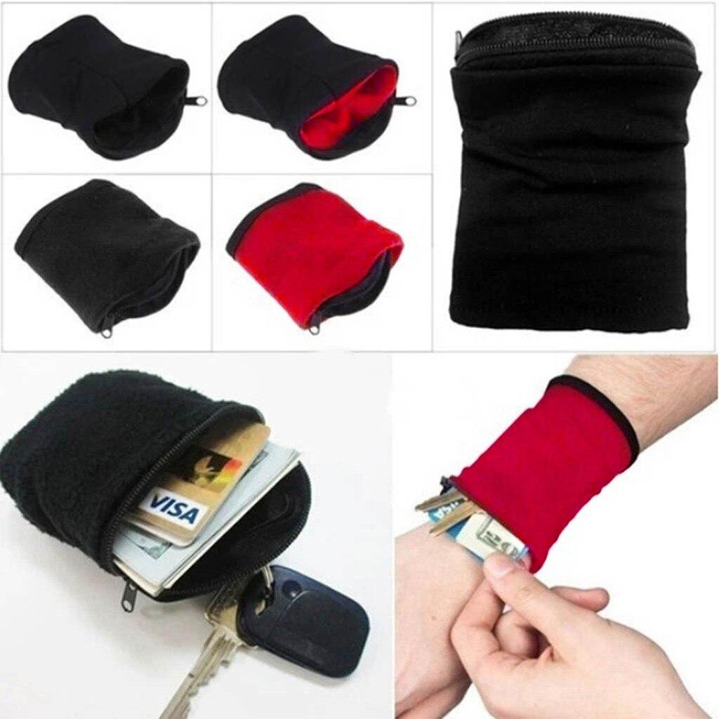 Portafoglio da polso custodia con cerniera corsa da viaggio palestra ciclismo Sport sicuro portafoglio da polso borsa da corsa con bracciale sportivo portatile