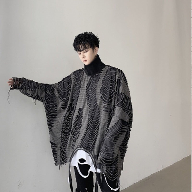 Spring Autumn Men Ripped Hole Oversized Punk Hoodie Stand Collar Sweatshirt Men Vintage Patchwork Loose Pullover