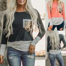 2019 harajuku T shirt vintage Magliette e camicette tee di Modo Delle Donne O Collo Maniche Lunghe A Righe Paillettes Splicing Facile plus size Magliette e camicette #281015Magliette