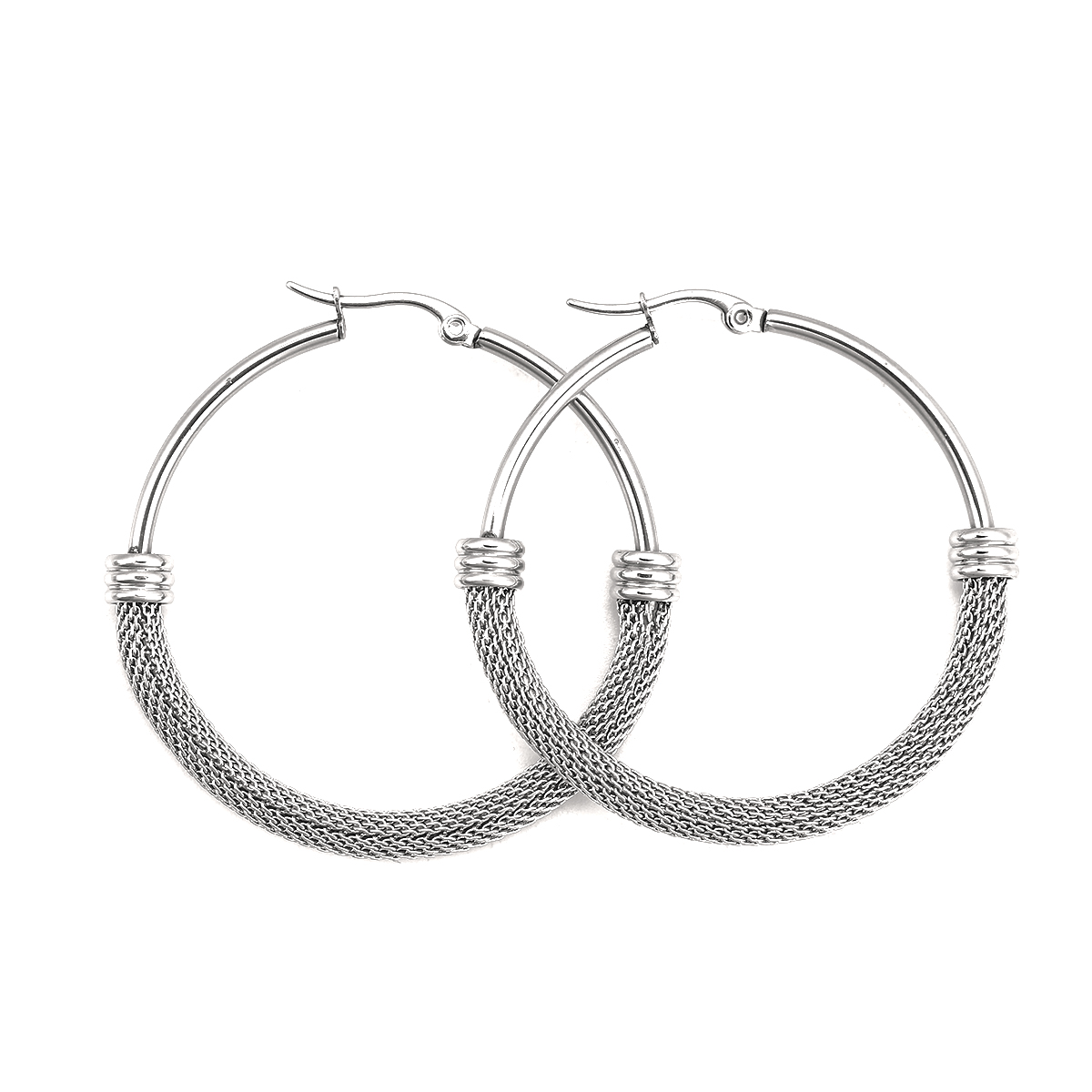 Hot 304 Stainless Steel Hoop Earrings Silver Color  Round Fashion female Earrings  For women 2021 , 1 Pair