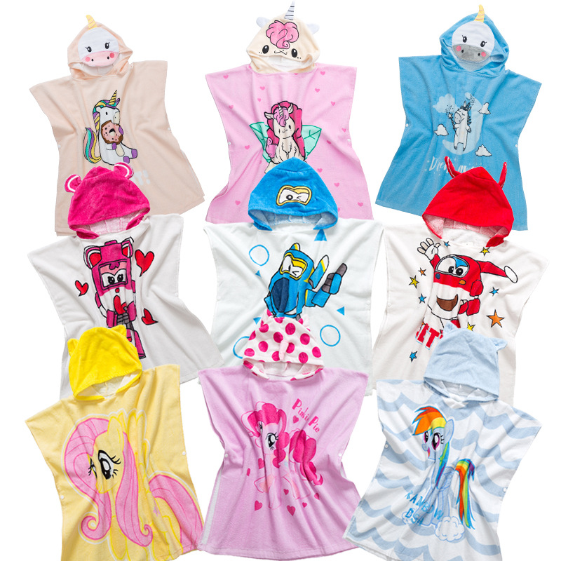 Hot Selling Baby GIRL'S Pure Cotton Absorbent Breathable CHILDREN'S Cartoon Bathrobe Unicorn Hooded Cloak Bath Towel