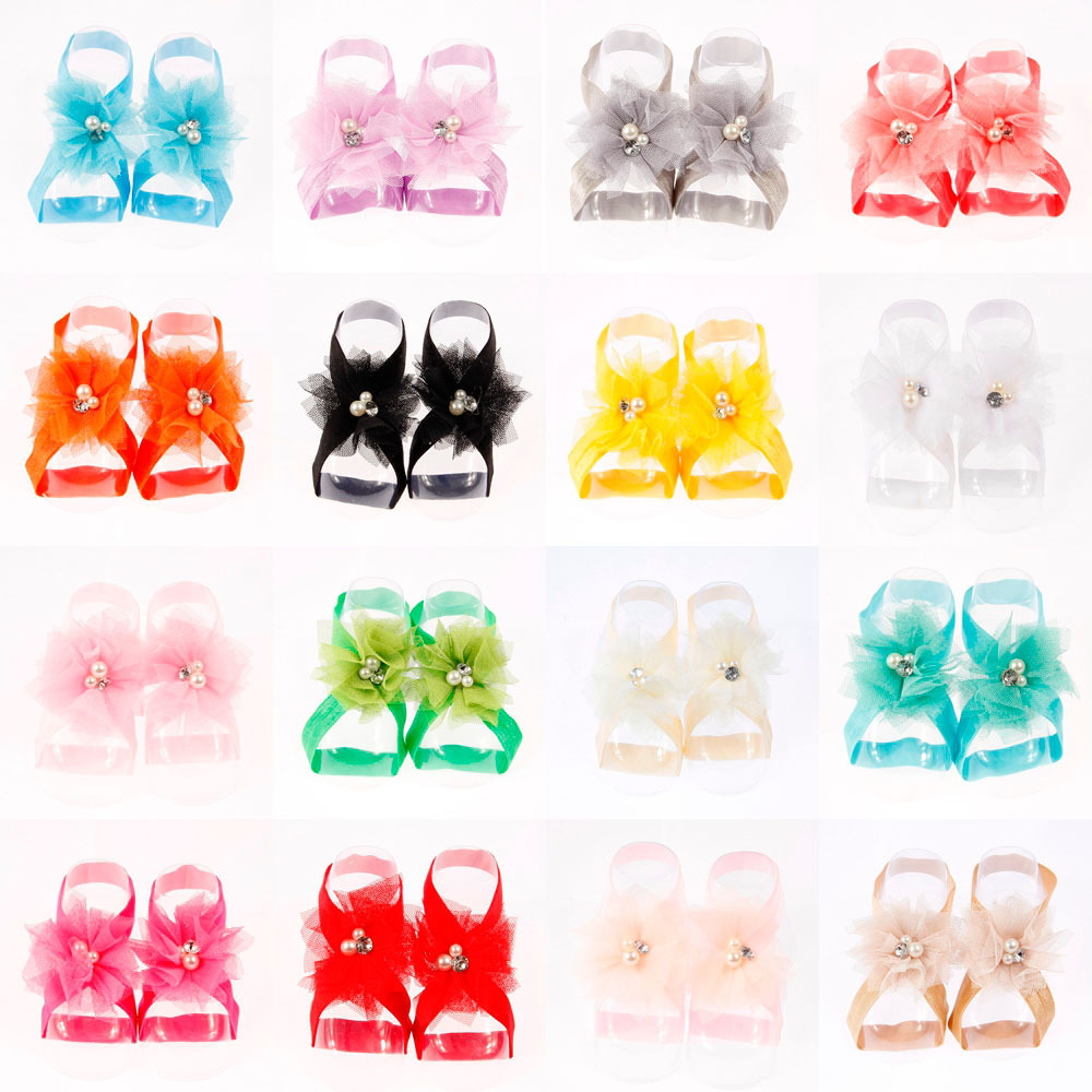 Yundlfy 1 Pair Chic Toddler Mesh Flower Barefoot Sandals Baby Girls Foot Flower With Elastic Band Newborn Photography Props