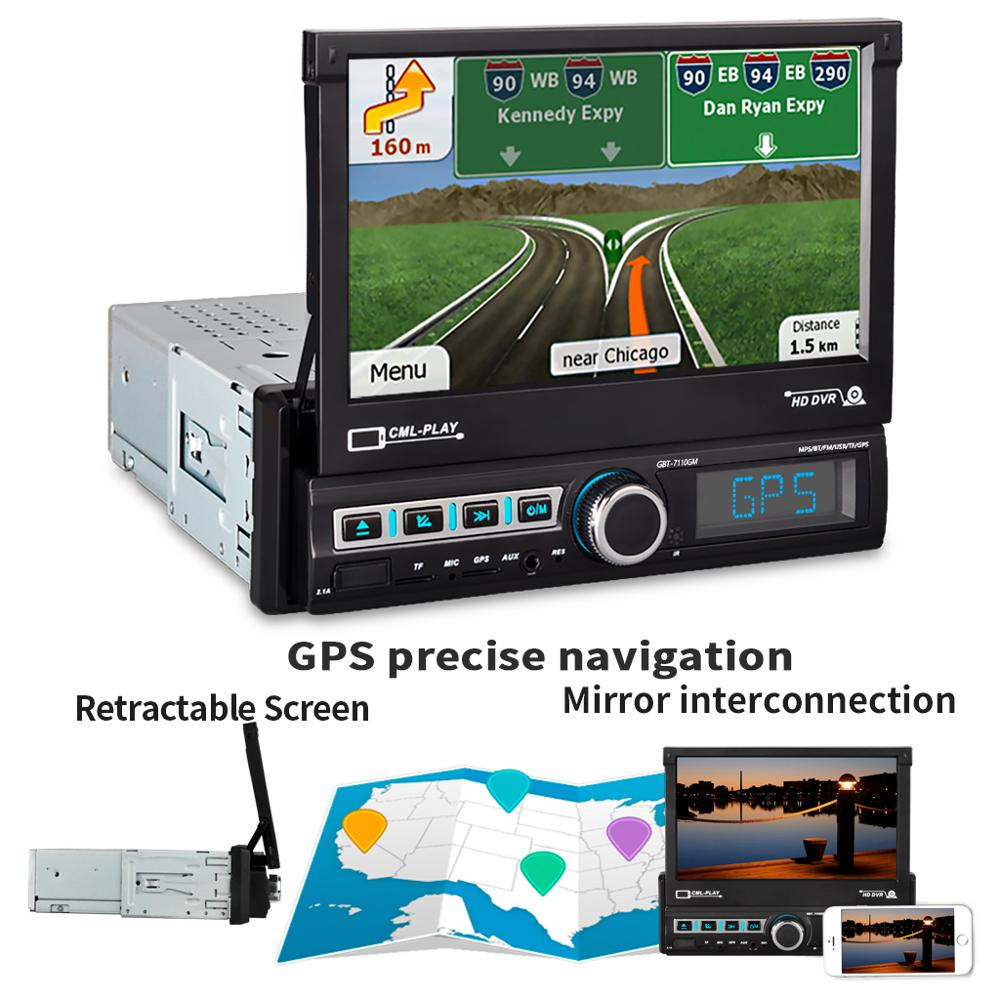 7'' 1 Din Car Radio Telescopic FM Bluetooth Stereo MP5 Player Auto GPS Navigation Multimedia with MAP TF USB 7110GM image