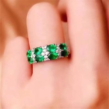 Fashion elegance Lovely double Row Natural green Emerald Ring S925 Silver Natural Gemstone Ring girl Women's party gift Jewelry(China)