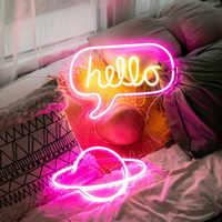 Luces de neón de manguera LED luces de Panel de letrero de neón tienda de fiesta de Navidad decoración de pared del hogar 10 lámpara de neón colorida amor hola