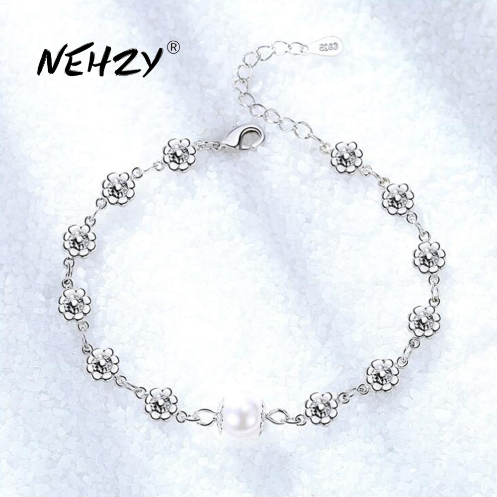 NEHZY 925 ayar gümüş takı bilezik yüksek kaliteli retro moda kadın inci çiçek tipi DIY bilezik uzunluğu 21.5CM
