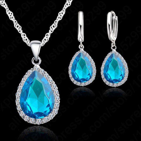 Hottest-925-Sterling-Silver-Necklace-Jewelry-Set-Water-Drop-Cubic-Zircon-Crystal-Necklaces-Wedding-Necklace-Pendants - 副本