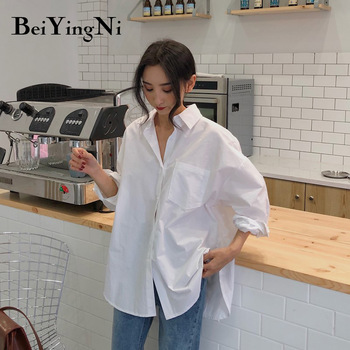 Beiyingni 2020 Spring Autumn Women Shirts White Plain Loose Oversized Blouses Female Tops Loose BF Korean Style Blusas Pockets 1