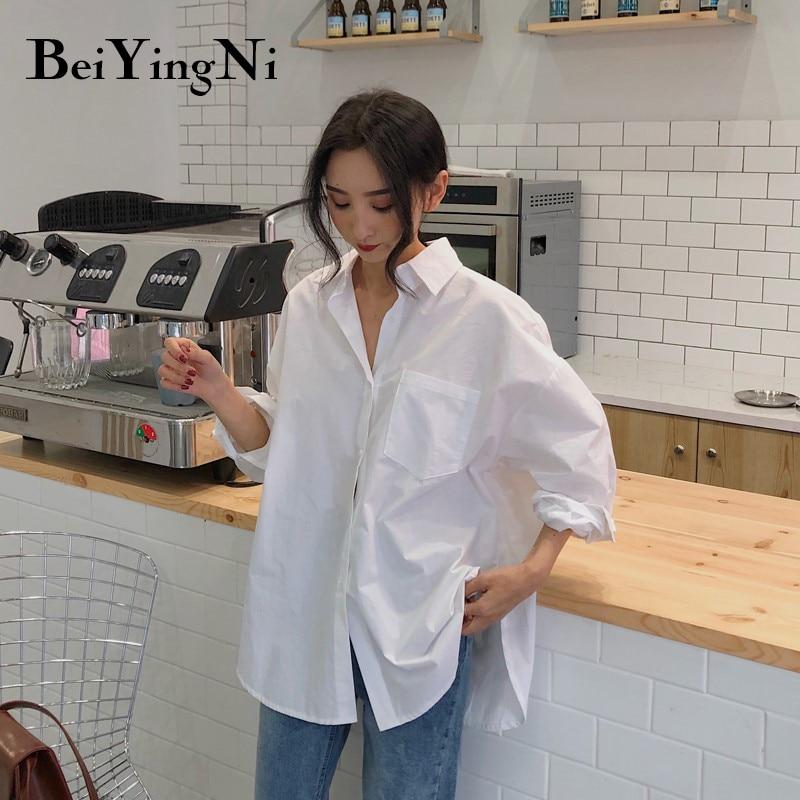 Beiyingni 2020 Frühling Herbst Frauen Shirts Weiß Plain Lose Übergroßen Blusen Weibliche Tops Lose BF Koreanische Stil Blusas Taschen