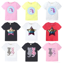 цена на 2-8T Cute Baby Girls Princess T-shirt Cotton Double-Sided Pattern Sequin Clothes Tops Summer Girl Cartoon Print T Shirts