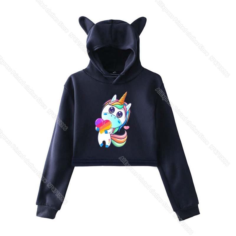 Girls Pink Cat Ear LIKEE Hoodies Cat Crop Top Likee App Hoodie Women Cartoon Unicorn Fox Sweatshirt Female Harajuku Streetwear 29