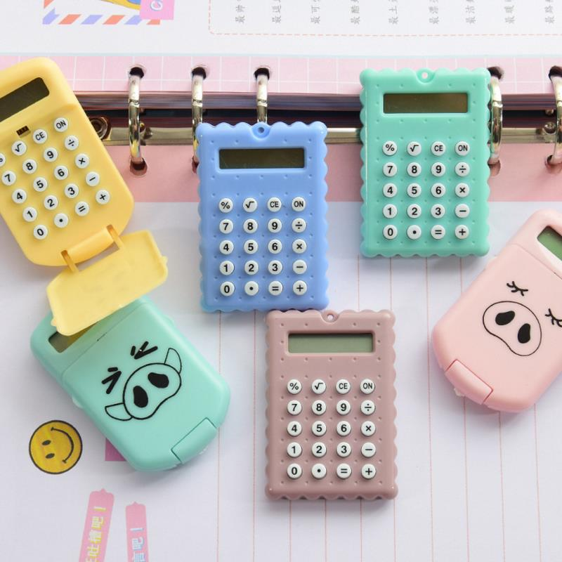 1pcs Fashion Cute Mini Portable Cute Cookies Pig Style Calculator Candy Color Pocket Calculator Student Stationery Gift