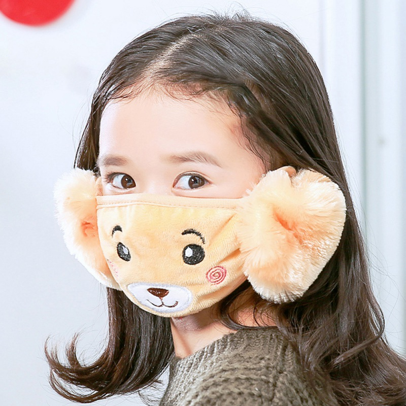 Cute 2 In 1 Outdoor Winter Baby Girl Boy Face Mask Earmuff Use For Sports Camping Hiking Riding DER