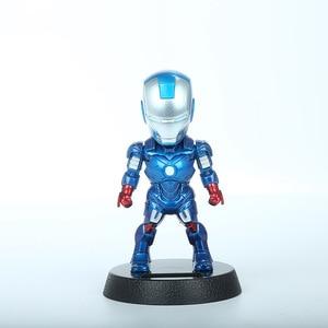 Image 5 - 2017 qバージョンアクションフィギュアスーパーヒーローアイアンマン黒パンサーフィギュア太陽エネルギーシェイクヘッドのおもちゃ12センチメートルchritmasギフトおもちゃ