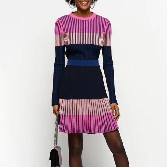 2019 automne et hiver femmes serré sort couleur col rond pull haut + a-ligne plissée tricoté jupe ensemble