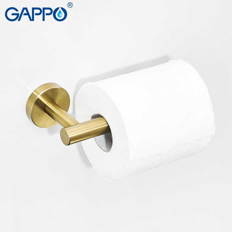 GAPPO Gold Schwarz Bad Hardware Set Schwarz Robe Haken Einzigen Handtuch Bar Robe Haken Papier Halter Bad Zubehör Y38124-2