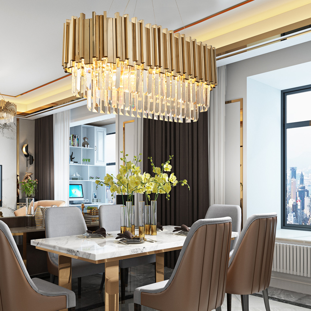 Image 2 - Youlaike Dining Room Modern Crystal Chandelier Luxury Oval Hanging Light Fixtures Dining Room Suspension LED Lustres De Cristal-in Chandeliers from Lights & Lighting