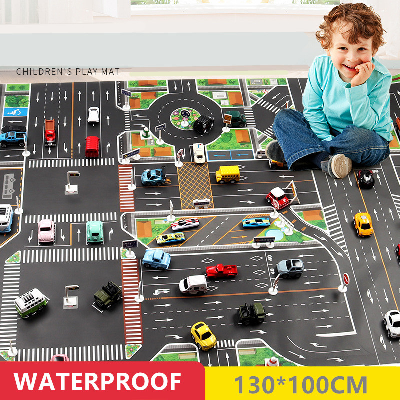 H1e9220e6cbf64a9cbd79cb40471104f34 130*100CM Large City Traffic Car Park Play Mat Waterproof Non-woven Kids Car Playmat Toys for Children's Mat Boy Car
