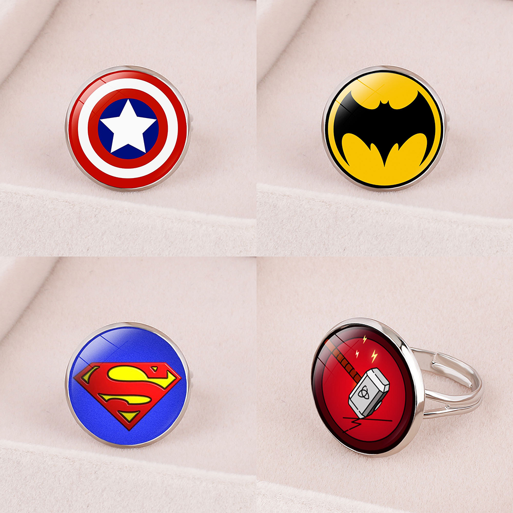 Кольцо-бейдж с американскими героями, регулируемое кольцо с капитаном, Пауком, суперлетучими мышами, дэдпулом, подарок для детей