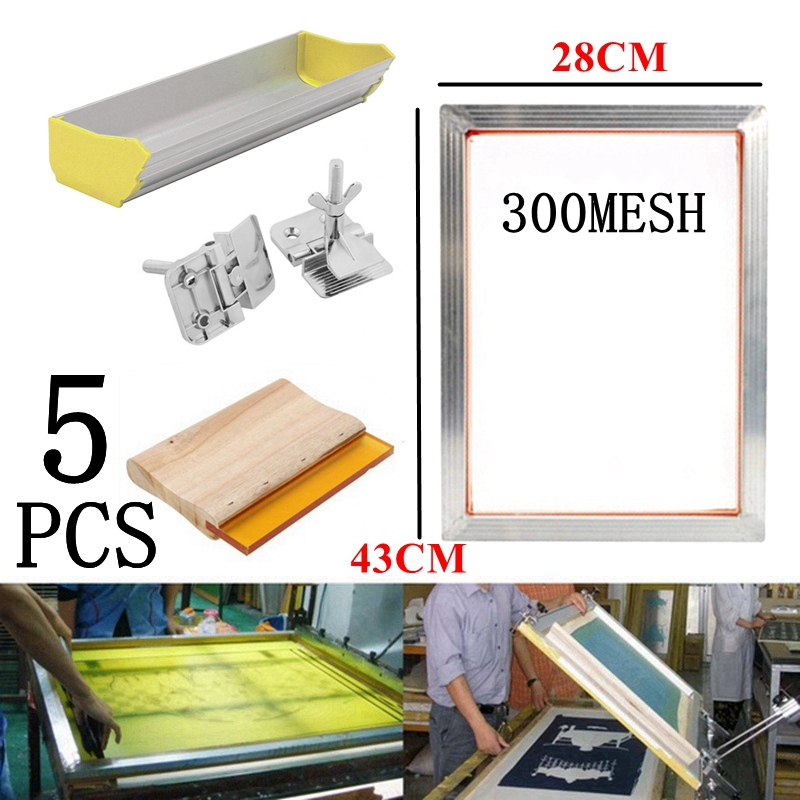 5Pcs 120T Screen Printing Kits Aluminum Frame + Hinge Clamp + Emulsion Scoop Coater + Squeegee Silk Screen Printing Tool Parts