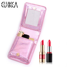 CUIKCA Ladys Organizer Wallets Woman Lipstick Bag Flash Shine Glitter Cosmetic Travel Make Up Makeup Case Toiletry