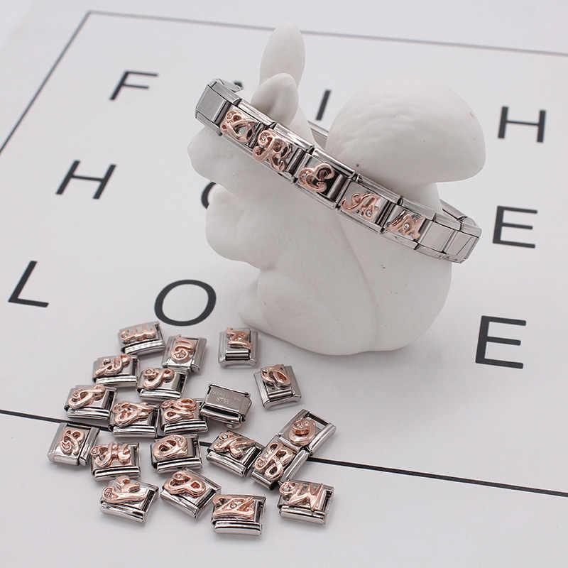 Hapiship, 2019, 9 мм, ширина, оригинал, Маргаритка, 26 букв, A-Z, итальянский шарм, 9 мм, браслет из нержавеющей стали, для изготовления ювелирных изделий, DJ186